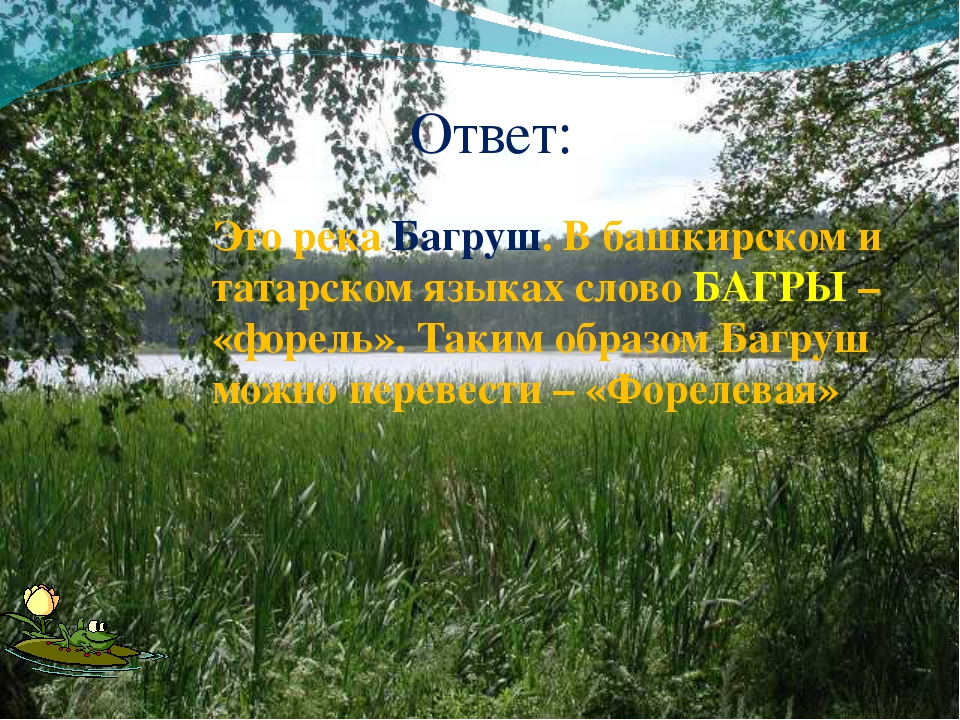 Ответ: Это река Багруш. В башкирском и татарском языках слово БАГРЫ – «форель...