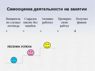 Самооценка деятельности на занятии ЛЕСЕНКА УСПЕХА Внимательно слушал логопеда