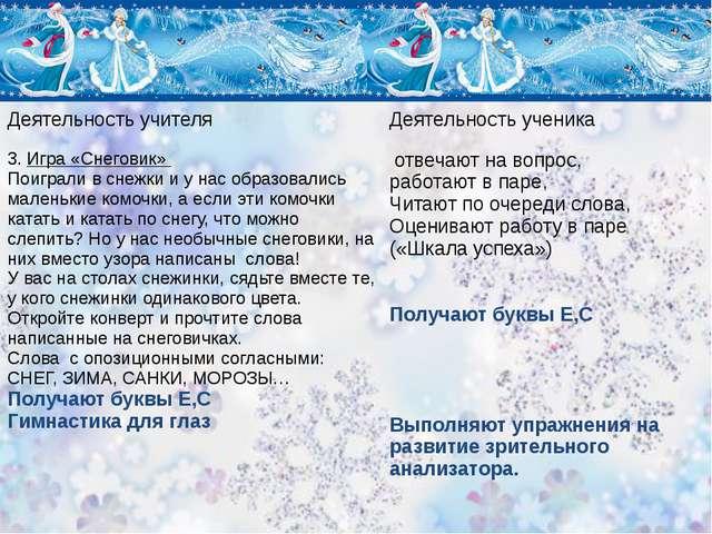 Деятельность учителя Деятельность ученика 3.Игра «Снеговик» Поиграли в снежки...