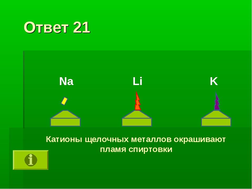 Ответ 21 Катионы щелочных металлов окрашивают пламя спиртовки K Li Na