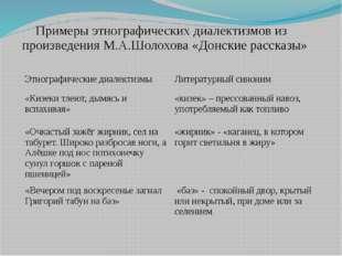 Примеры этнографических диалектизмов из произведения М.А.Шолохова «Донские ра