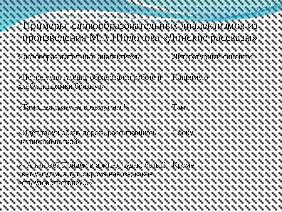 Примеры словообразовательных диалектизмов из произведения М.А.Шолохова «Донск...