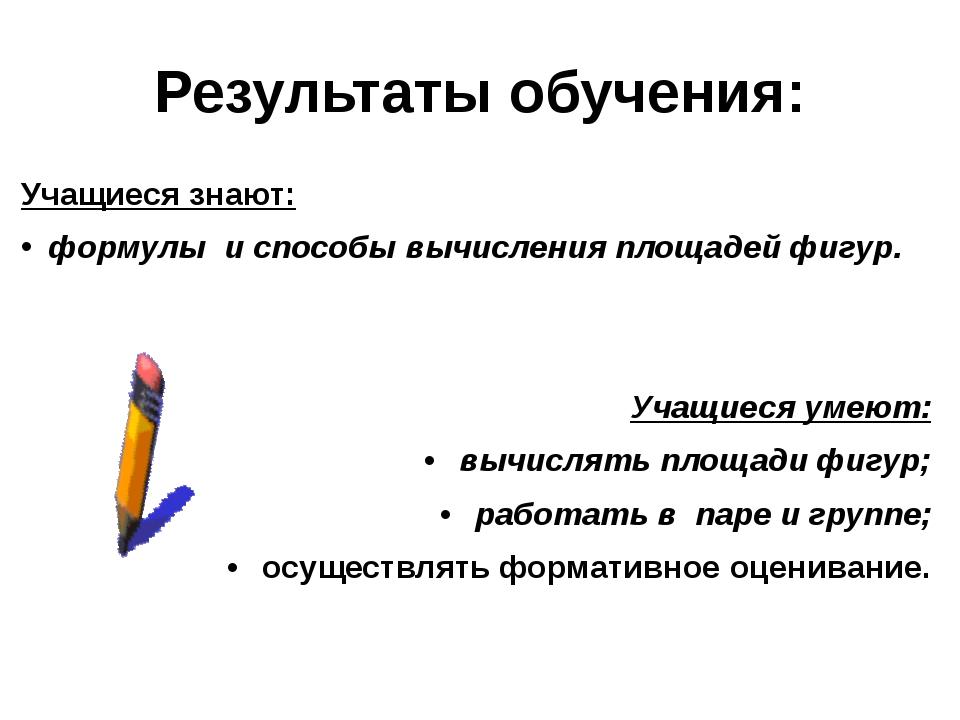 Результаты обучения: Учащиеся знают: формулы и способы вычисления площадей ф...