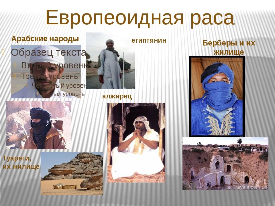 Европеоидная раса Арабские народы Берберы и их жилище египтянин Туареги, их ж...