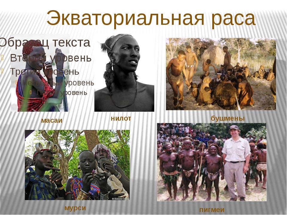 Экваториальная раса масаи нилот бушмены мурси пигмеи