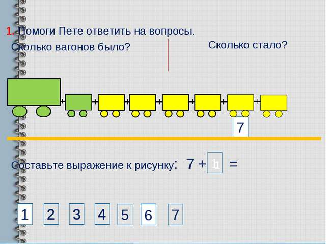 Составьте выражение к рисунку: 7 + 1 = 7 1. Помоги Пете ответить на вопросы....