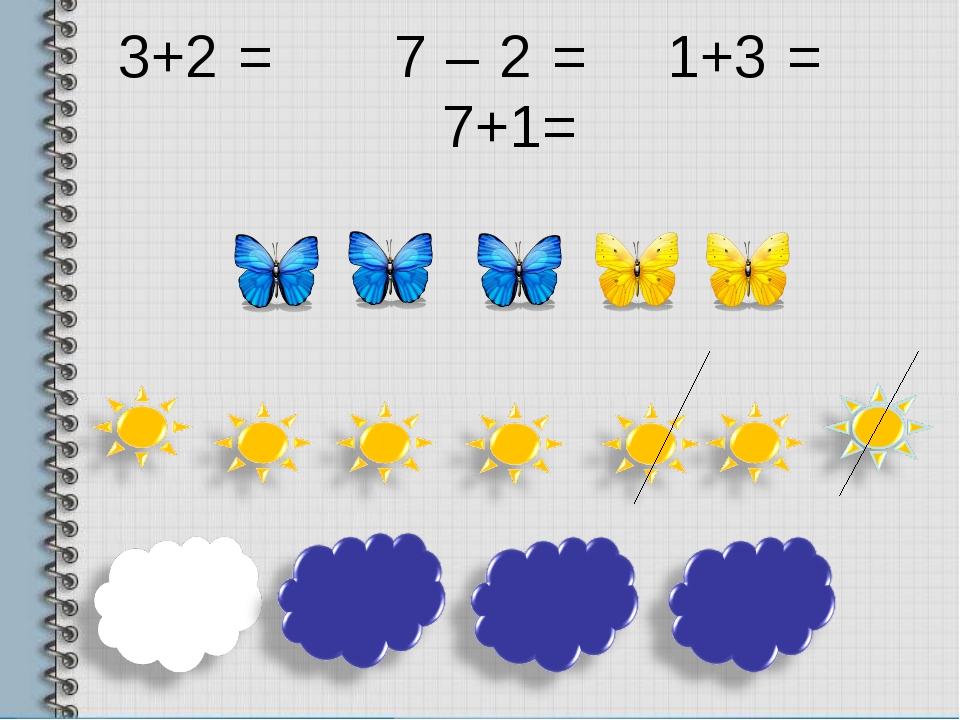 3+2 = 7 – 2 = 1+3 = 7+1=