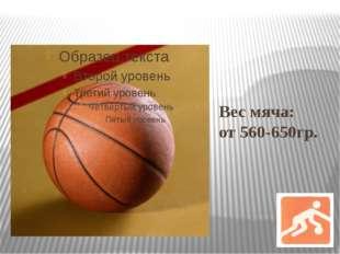 Вес мяча: от 560-650гр.