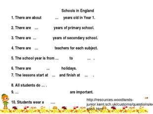 Schools in England http://resources.woodlands-junior.kent.sch.uk/customs/ques
