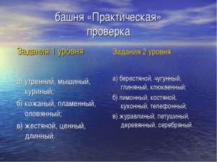 башня «Практическая» проверка Задания 1 уровня а) утренний, мышиный, куриный;