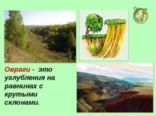 Овраги - это углубления на равнинах с крутыми склонами. Окружающий мир