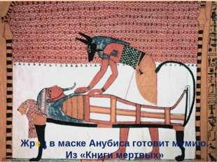 Жрец в маске Анубиса готовит мумию. Из «Книги мертвых»