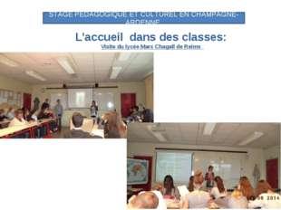 L'accueil dans des classes: Visite du lycée Marc Chagall de Reims STAGE PEDAG