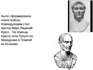Было сформировано новое войско. Командующим стал претор Марк Лициний Красс.
