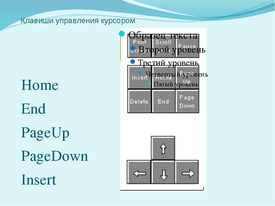 Клавиши управления курсором Home End PageUp PageDown Insert