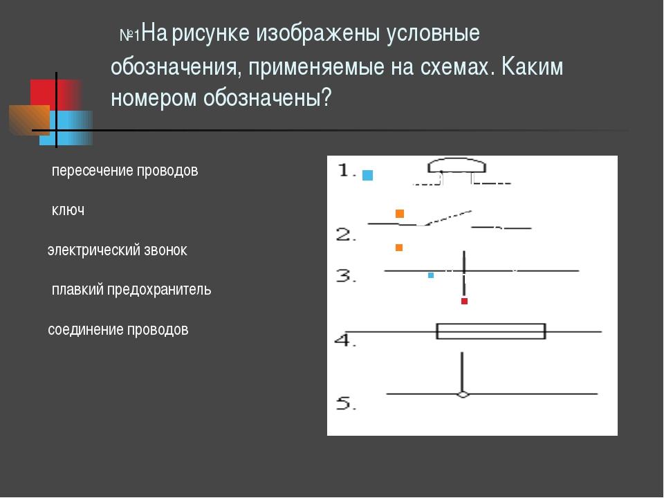 №1На рисунке изображены условные обозначения, применяемые на схемах. Каким н...