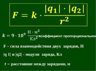 F – сила взаимодействия двух зарядов, Н |q 1| и |q2| - модули заряда, Кл r –