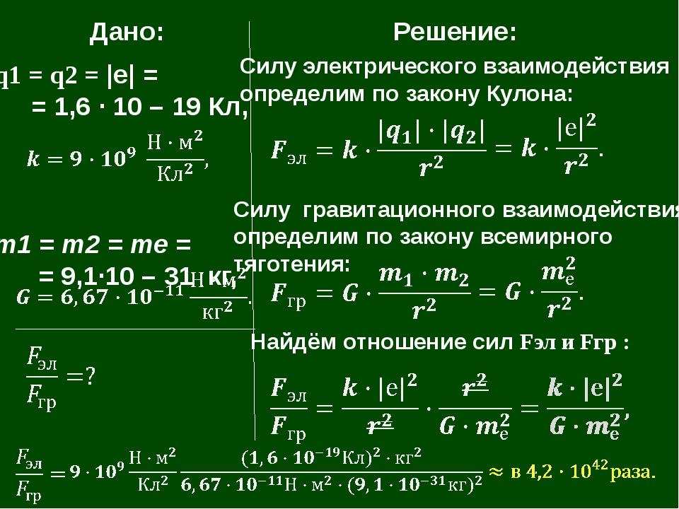 Дано: q1 = q2 = |е| = = 1,6 · 10 – 19 Кл, т1 = т2 = те = = 9,1·10 – 31 кг, Р...