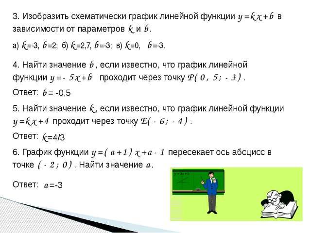 3. Изобразить схематически график линейной функции y=kx+b в зависимости от па...