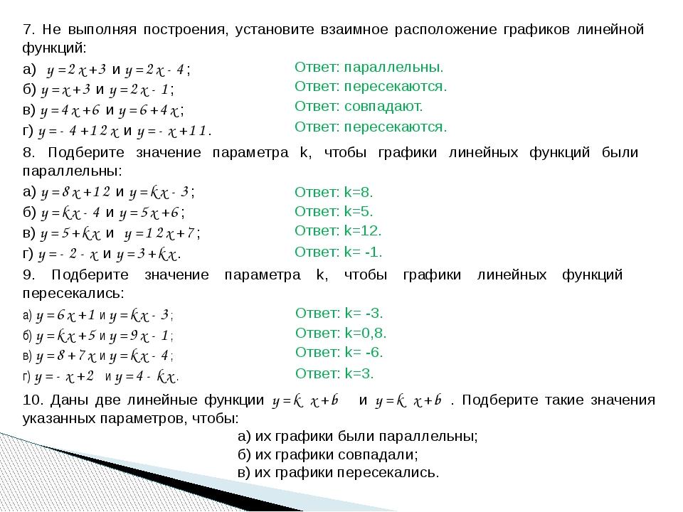 7. Не выполняя построения, установите взаимное расположение графиков линейной...