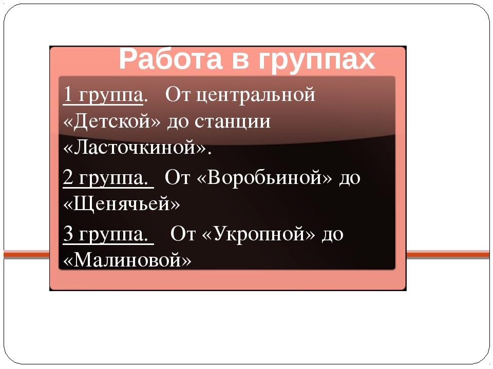 Работа в группах 1 группа. От центральной «Детской» до станции «Ласточкиной»....