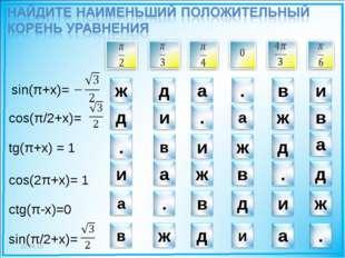 * tg(π+x) = 1 cos(2π+x)= 1 ctg(π-x)=0