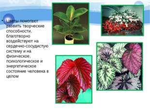 Цветы помогают развить творческие способности, благотворно воздействуют на се