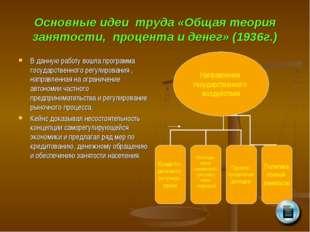 Основные идеи труда «Общая теория занятости, процента и денег» (1936г.) В дан