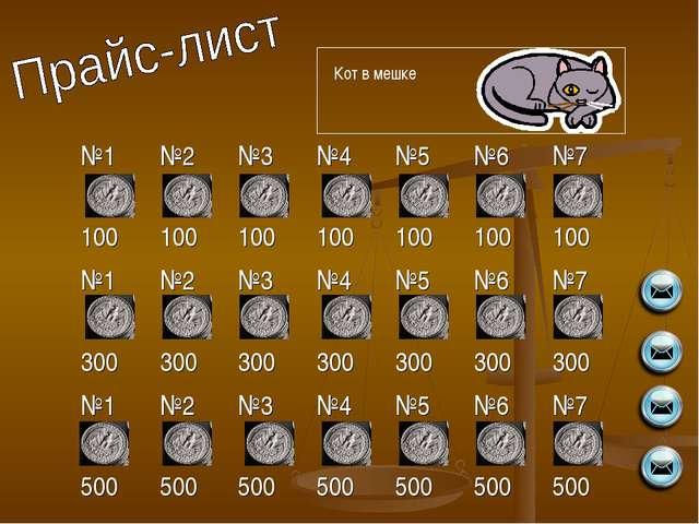 Кот в мешке №1 100№2 100№3 100№4 100№5 100№6 100№7 100 №1 300№2 300№3...
