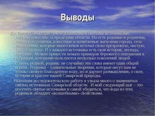 Выводы Да, богата Самарская земля родниками и святыми источниками, которые из