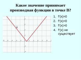 Какое значение принимает производная функции в точке В? f'(x)=0 f'(x)0 f'(x)