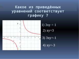 Какое из приведённых уравнений соответствует графику ? 1) 3xy = 1 2) xy=3 3)
