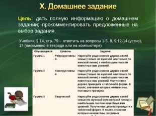 Цель: дать полную информацию о домашнем задании; прокомментировать предложенн