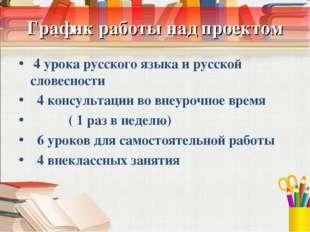 График работы над проектом 4 урока русского языка и русской словесности 4 кон