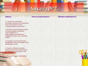 Анкета №2. ВопросыОтветы до начала проекта Промежуточный результат 1. Следу