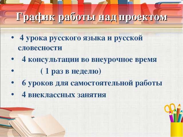 График работы над проектом 4 урока русского языка и русской словесности 4 кон...