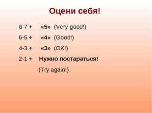 Оцени себя! 8-7 + «5» (Very good!) 6-5 + «4» (Good!) 4-3 + «3» (OK!) 2-1 + Ну
