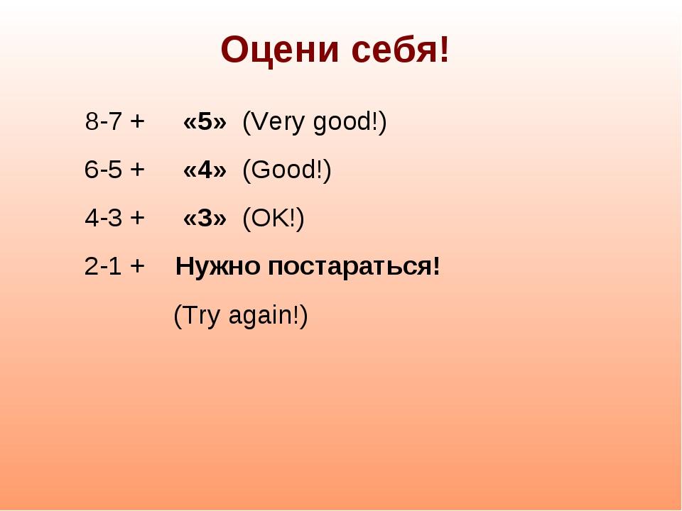 Оцени себя! 8-7 + «5» (Very good!) 6-5 + «4» (Good!) 4-3 + «3» (OK!) 2-1 + Ну...