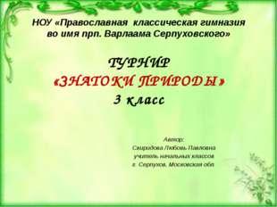НОУ «Православная классическая гимназия во имя прп. Варлаама Серпуховского» Т