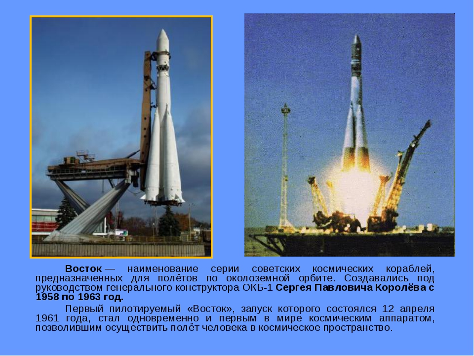Восток— наименование серии советских космических кораблей, предназначенных...