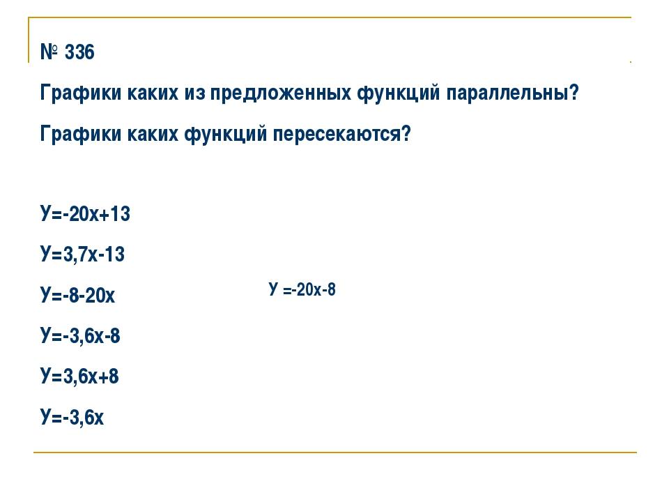 № 336 Графики каких из предложенных функций параллельны? Графики каких функци...