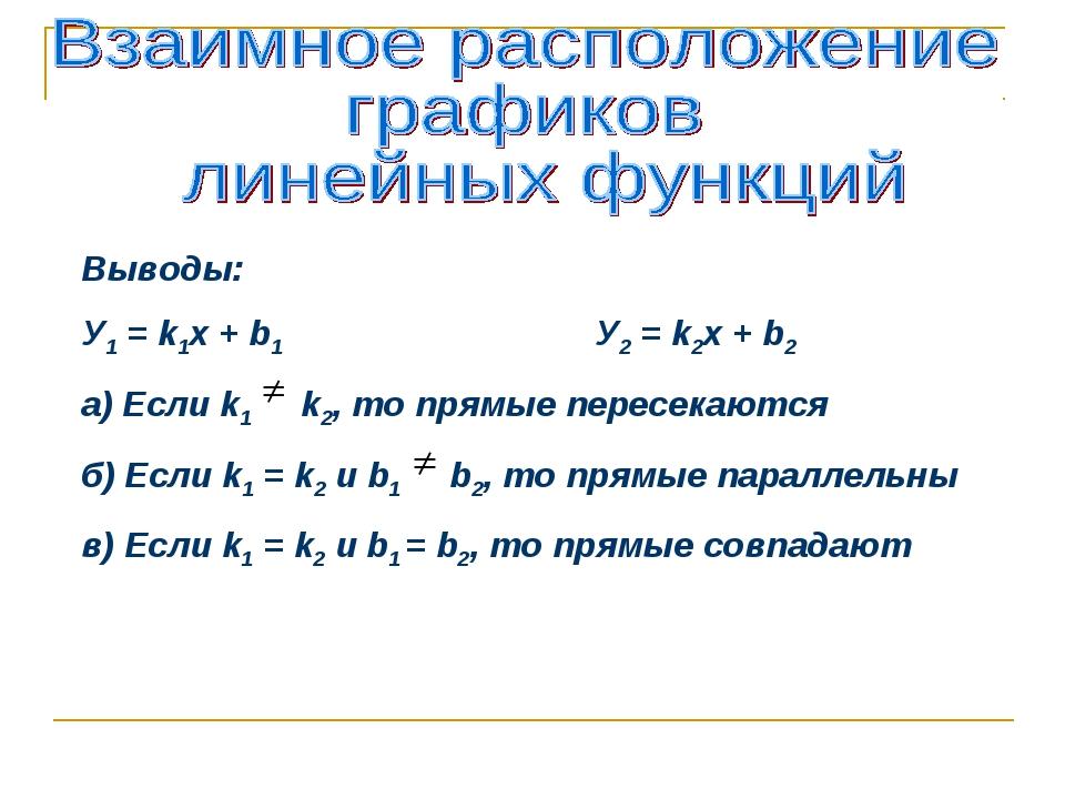 Выводы: У1 = k1x + b1 У2 = k2x + b2 а) Если k1 k2, то прямые пересекаются б)...