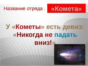 Название отряда : «Комета» У «Кометы» есть девиз: «Никогда не падать вниз!»