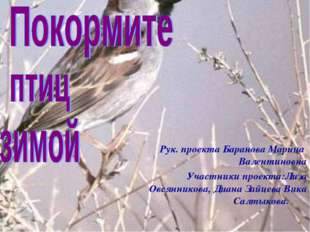 Рук. проекта Баранова Марина Валентиновна Участники проекта:Лиза Овсянникова,
