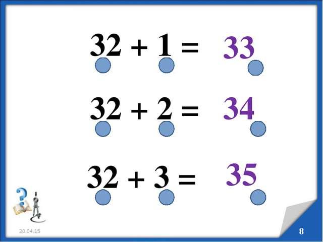 * * 32 + 1 = 32 + 2 = 32 + 3 = 33 34 35