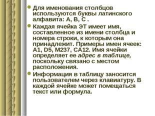 Для именования столбцов используются буквы латинского алфавита: А, В, С . Каж