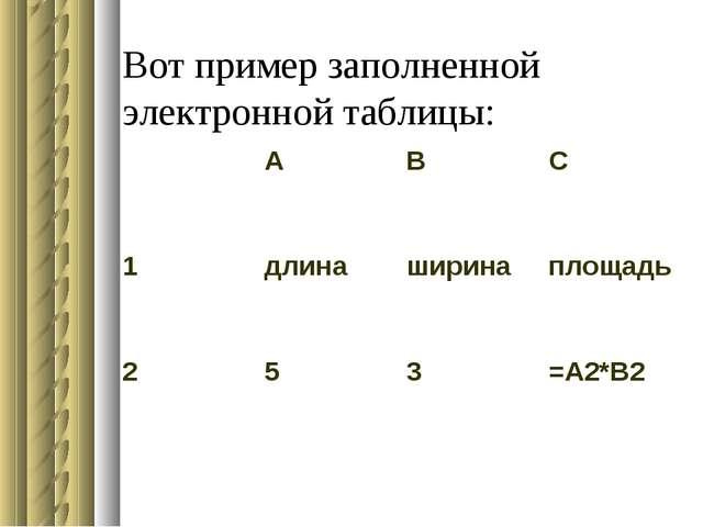 Вот пример заполненной электронной таблицы: