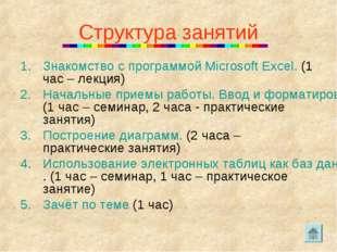 Структура занятий Знакомство с программой Microsoft Excel. (1 час – лекция) Н