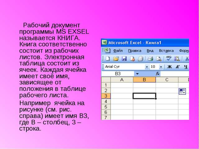 Рабочий документ программы MS EXSEL называется КНИГА. Книга соответственно с...
