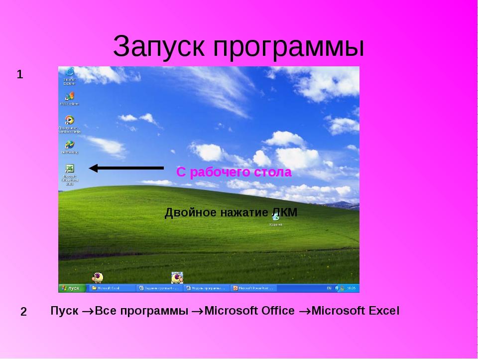 Запуск программы С рабочего стола Двойное нажатие ЛКМ 1 2 Пуск Все программы...